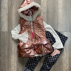 Little Lass Matching Sets - Little Lass 3 Piece Puffer Vest and Legging Outfit